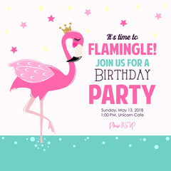 Cute flamingo birthday party invite