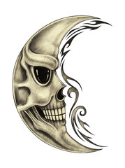 Art Design Moon Skull Tattoo. Hand pencil drawing on paper.