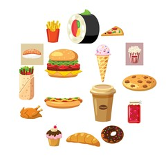 Food set icons in cartoon style isolated on white background