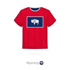 T-shirt design with flag of Wyoming U.S. state.