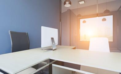 Modern meeting room. 3D rendering.. Sunset