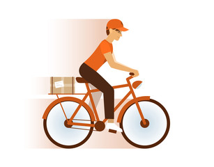 Express Delivery Service Icon Courier Boy Riding red Bike With Boxes Flat Vector Illustration.