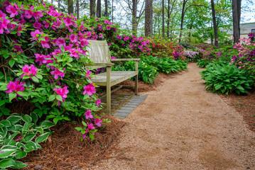 Azalea and Flower Garden with bench in Raleigh, North Carolina