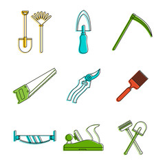 Farm tool icon set. Color outline set of farm tool vector icons for web design isolated on white background
