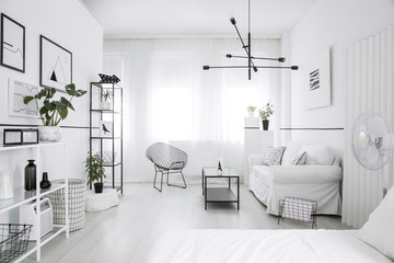 Spacious, furnished bedroom interior