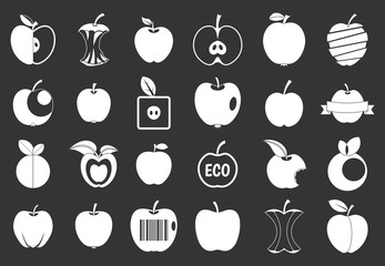 Different apple icon set vector white isolated on grey background