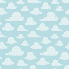 Vector Light Blue Clouds Seamless Pattern Background