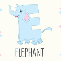 Illustrated Alphabet Letter E And Elephant