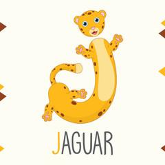 Illustrated Alphabet Letter J And Jaguar
