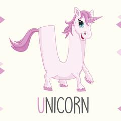 Illustrated Alphabet Letter U And Unicorn