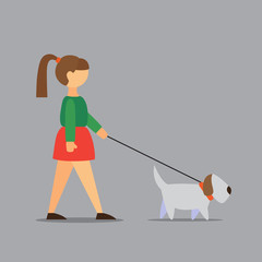 illustration of a girl with a dog in a flat style