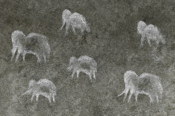 a herd of ancient animals painted by an ancient man on a cave wall. ancient history.