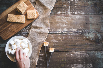 S'mores Summer Background with Roasted Marshmallows