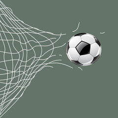 Soccer ball through net, vector illustration