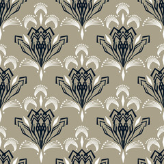 Seamless retro art deco pattern ornament. Geometric stylish background repeating texture.