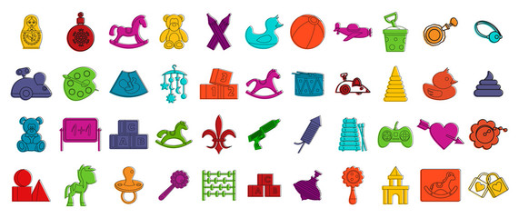 Kid toys icon set. Color outline set of kid toys vector icons for web design isolated on white background