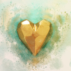 abstract watercolor style illustration of golden heart.