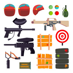 Paintball Icons Set Vector. Paintball Game Accessories. Weapon, Pistol, Helmet, Grenade, Protection, Paint. Isolated Flat Cartoon Illustration