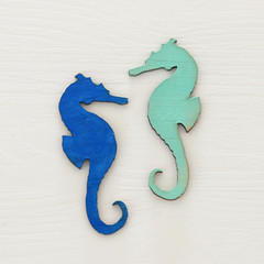vacation and summer image with seahorse over white wooden background.