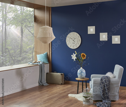 living room dark blue wall and forest view home decoration. Modern ...