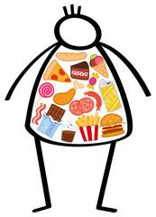 Strichmännchen, übergewichtiger Mann, gefüllt mit ungesunden Lebensmitteln, Fast Food, Süßes. Konzeptionelle Abbildung für eine ungesunde Ernährungsweise, falsche Ernährung, Diabetes, Fettleibigkeit