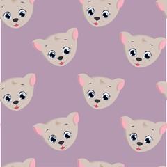 seamless pattern cute cat . vector illustration