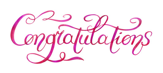 "The inscription ""Congratulations"", Lettering, hand drawing watercolor., Isolated on white background with clipping path."
