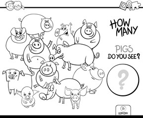 counting pigs animals game coloring book