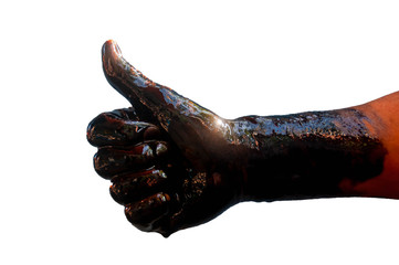 Isolated Stain hands showing thumbs up with black oil on white background (clipping path).