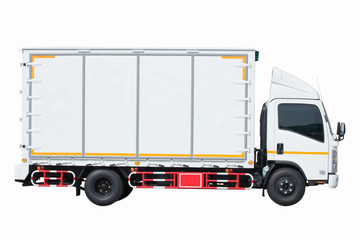 six wheel cargo delivery truck isolated white background clipping path