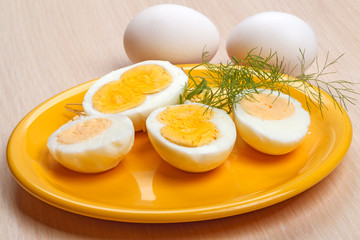 Half cooked eggs on a plate