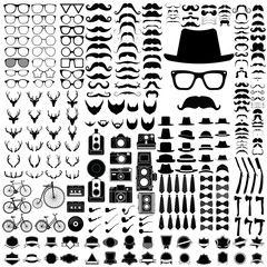 Set of Hipster style elements vintage on white background and ic