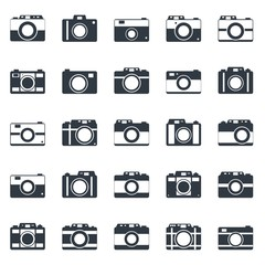 Camera icons or symbol . Camera silhouette or logo vector set isolated on white background.