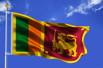 The silk waving flag of Sri Lanka with a flagpole on a blue sky background with clouds .3D illustration.