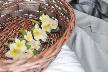 beauty flower decoration in basket