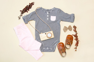 Baby spring outfit, top view, stripped body,shoes and wooden camera toy