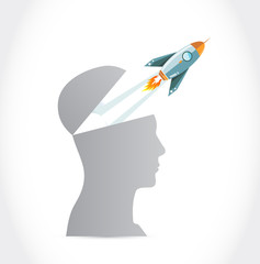 Rocket fly outside the head.