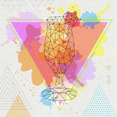 Hipster polygonal cocktail daiquiri on artistic watercolor background