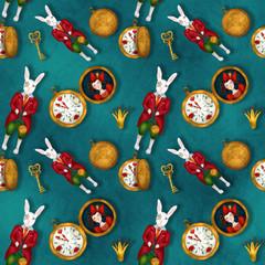 Mr. White Rabbit, seamless pattern