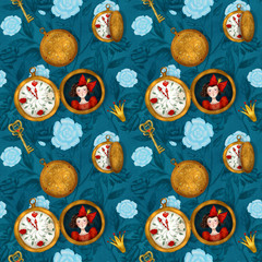 White rabbits watches, seamless pattern