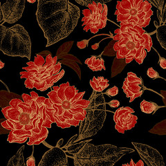 Vector seamless pattern with flowers of the Chinese plum.