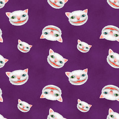 Cheshire cat, seamless backround, pattern
