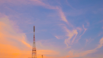 Sky colors and beautiful clouds in the evening and communication