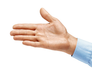 Man's hand in shirt outstretched in greeting isolated on white background. Close up. High resolution product