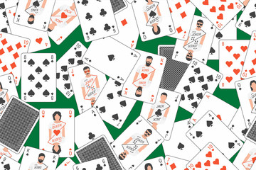 Seamless pattern of playing cards randomly placed over Green background