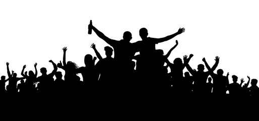 Crowd of people, friends at a party silhouette. Concert, festival, music. Cheer crowd people. Audience cheering applause. Cheerful sports fan. Mob soccer banner. Man with a bottle of beer, alcohol