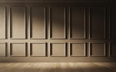 Brown empty room. Classic interior design. 3d illustration