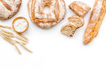 Keuken foto achterwand Bakkerij Bread shop. Baker's shop. Assorted bread on white background top view space for text