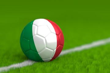Soccer Ball With Italian Flag 3D Render