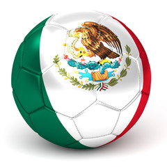 Soccer Ball With Mexican Flag 3D Render